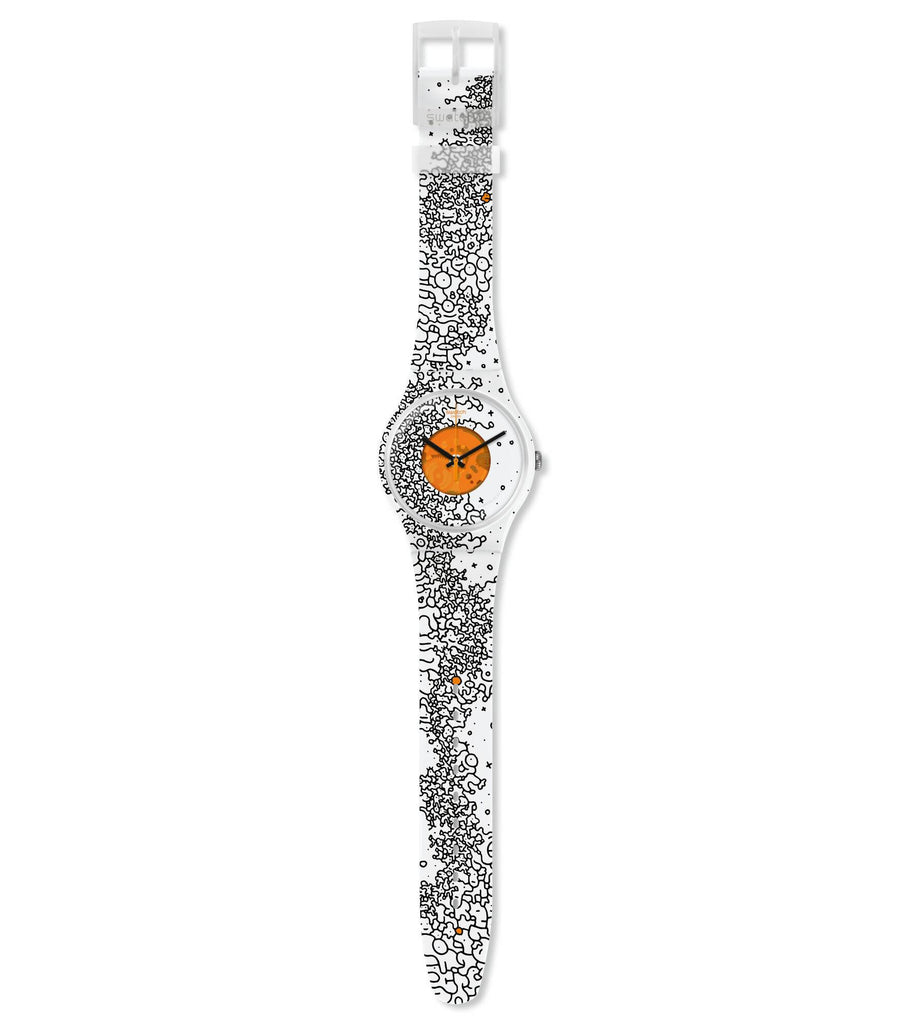 Swatch Orange Pusher Quartz Movement Multi-Color Dial Unisex Watch SUOW167 | VintageRadar.com