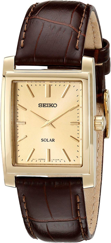 Seiko Men's Brown Leather Strap Solar Dress SUP896 Watch