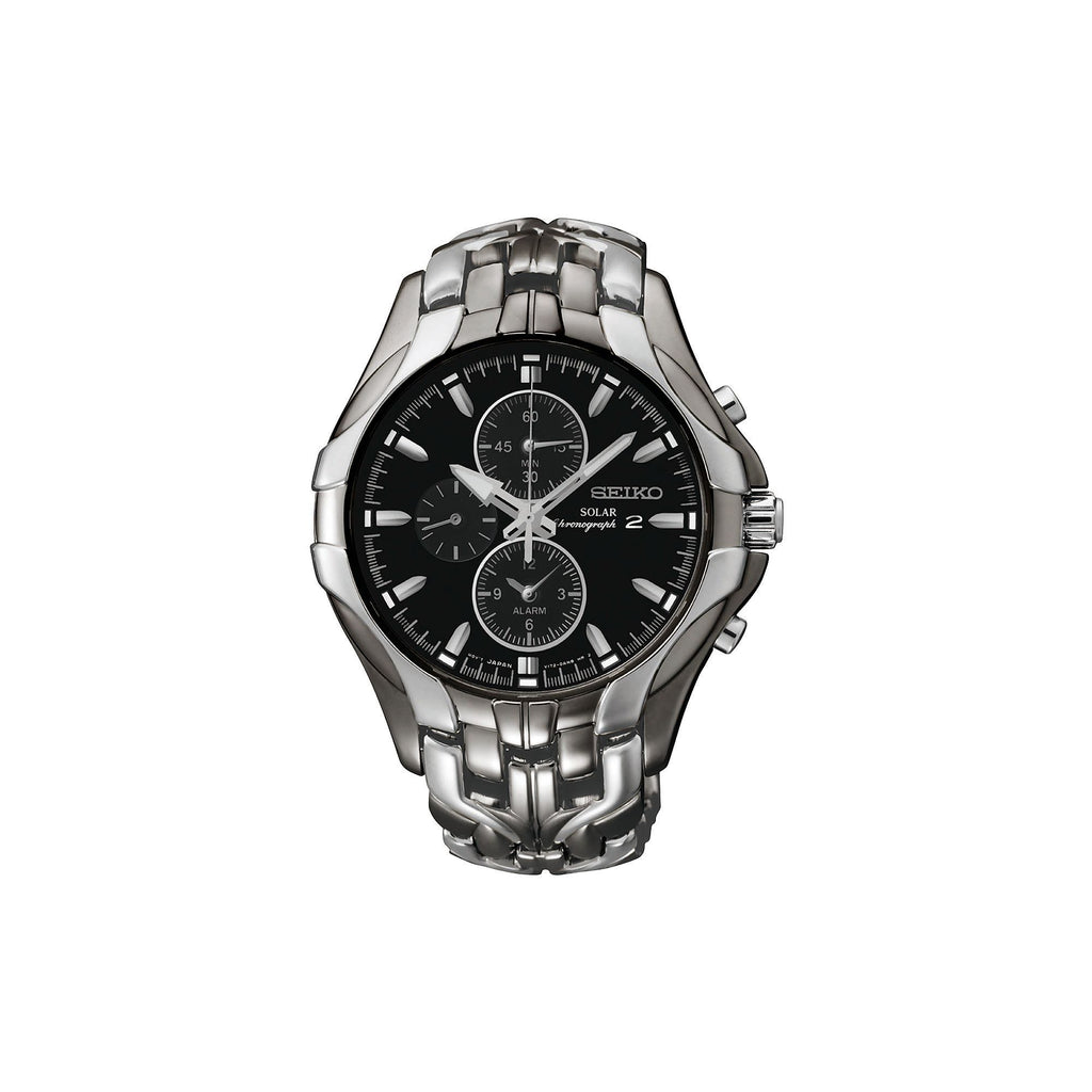 Seiko Men's Excelsior Black Ion Finish Solar SSC139 Chronograph Watch