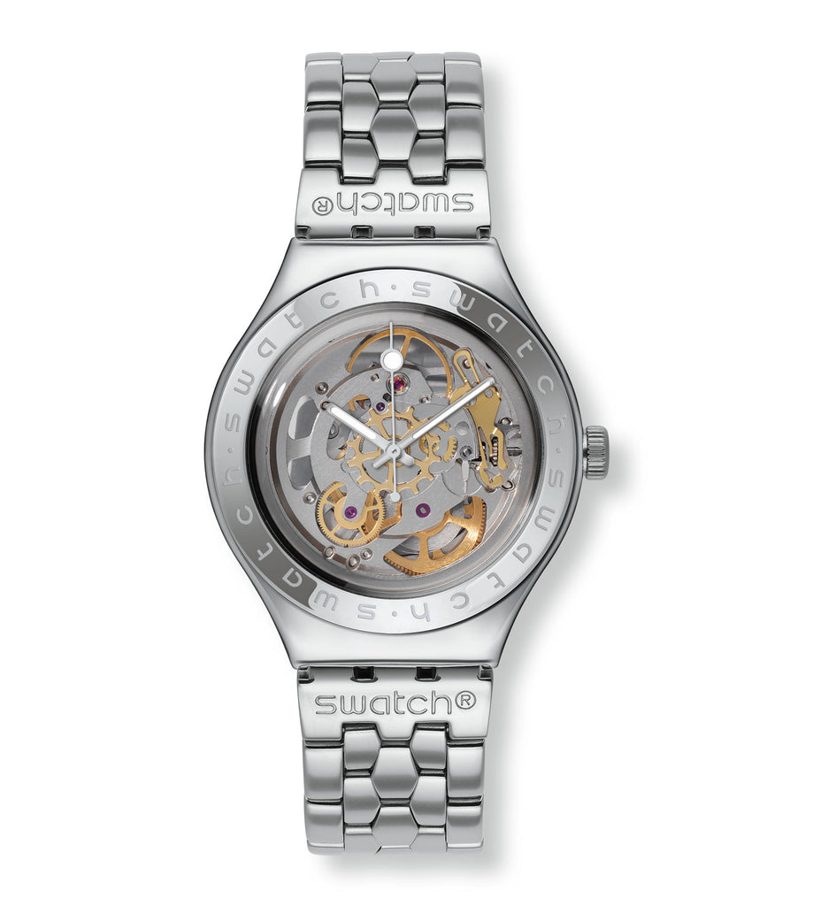 Swatch Men's YAS100G Automatic See Through Dial Crystal Watch | VintageRadar.com