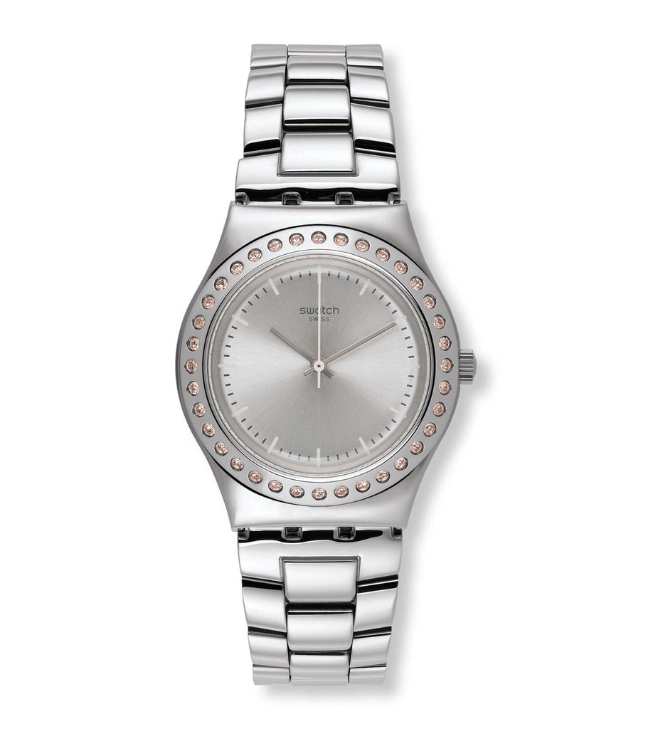 Swatch Irony Pure Powder Silver Dial Stainless Steel Ladies Watch YLS172G | VintageRadar.com