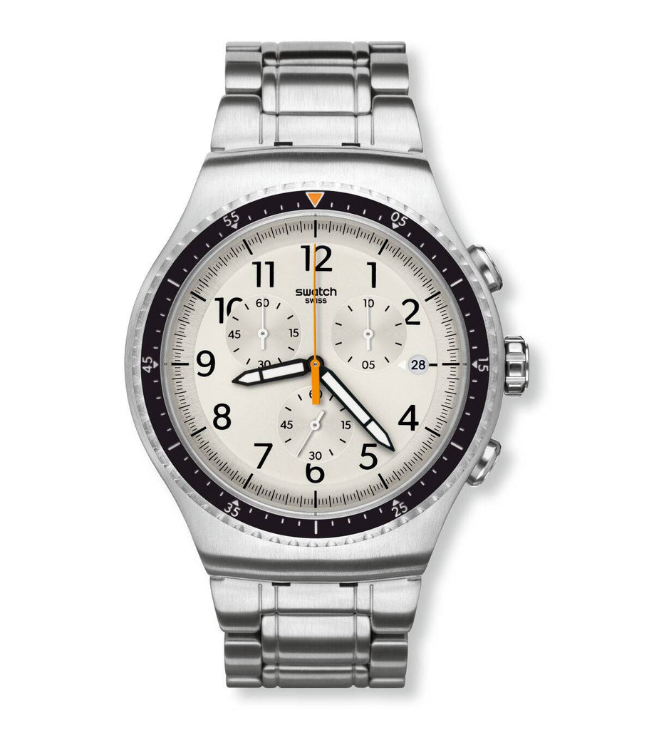 Swatch Irony Minimalis-Tic Silver Dial Stainless Steel Men's Watch YOS453G | VintageRadar.com