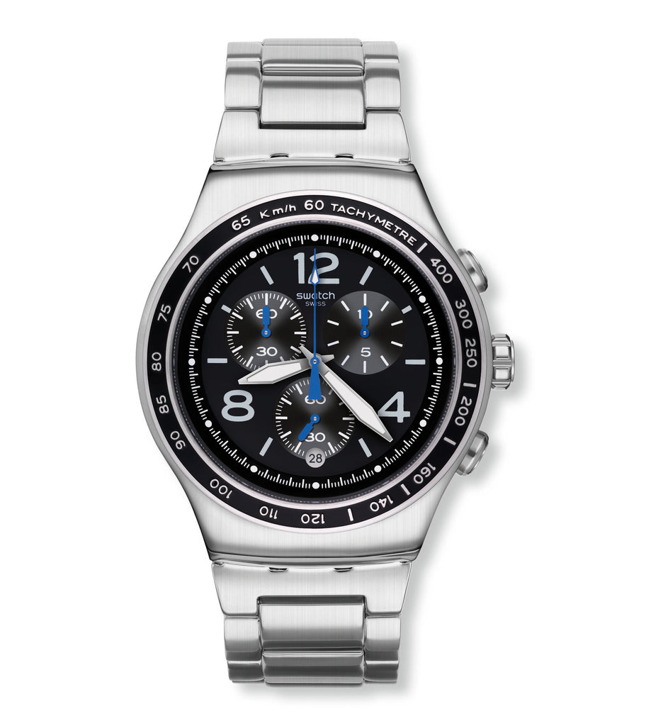 Swatch Irony The Magnificent Black Dial Stainless Steel Men's Watch YOS456G | VintageRadar.com