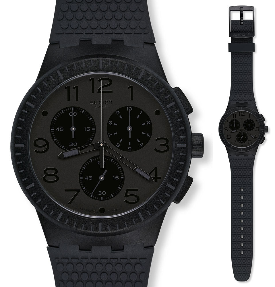 Swatch Men's Chronograph Quartz Watch with Silicone Strap SUSB104