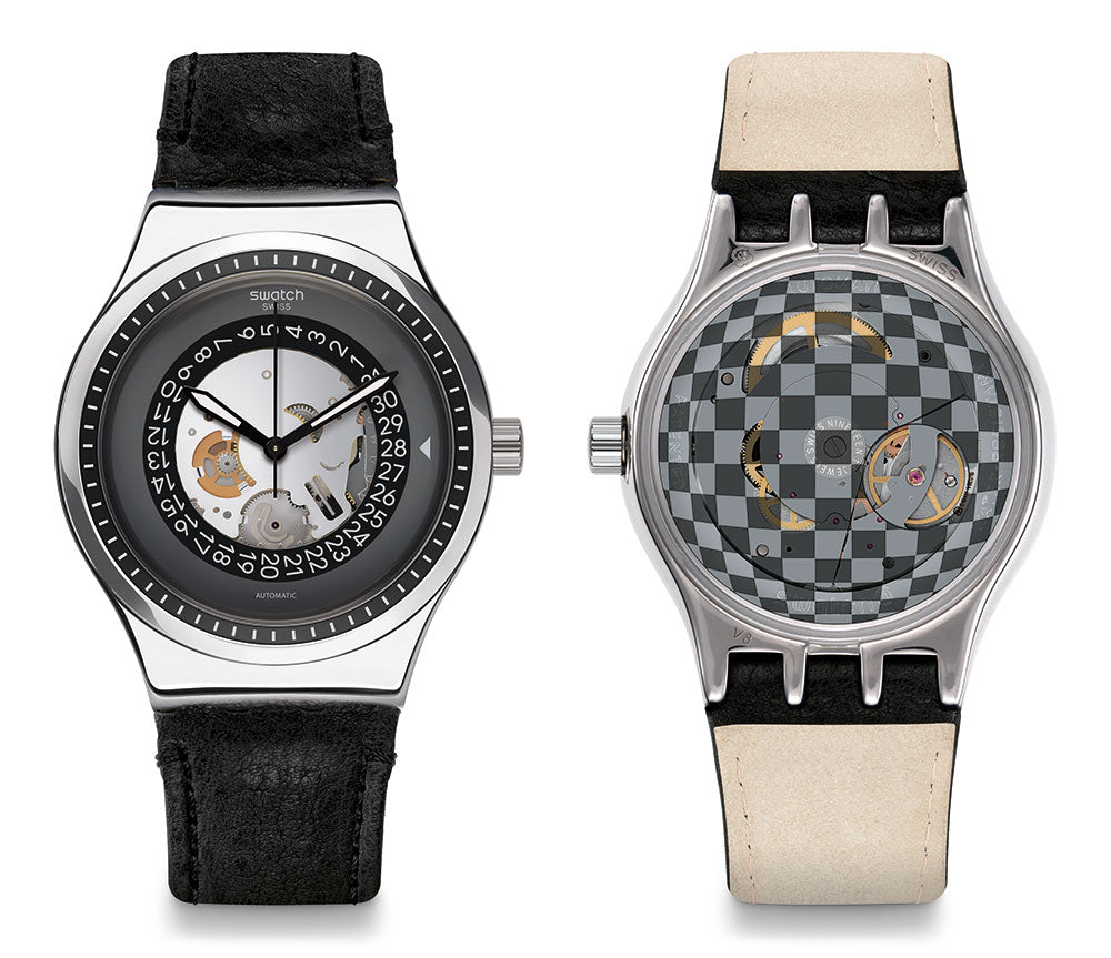 Swatch Men's Analogue Automatic Watch with Leather Strap YIS414 | VintageRadar.com