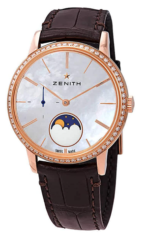 Zenith Elite Lady 18kt Rose Gold Automatic Moonphase Diamond White Mother of Pearl Dial Ladies Watch