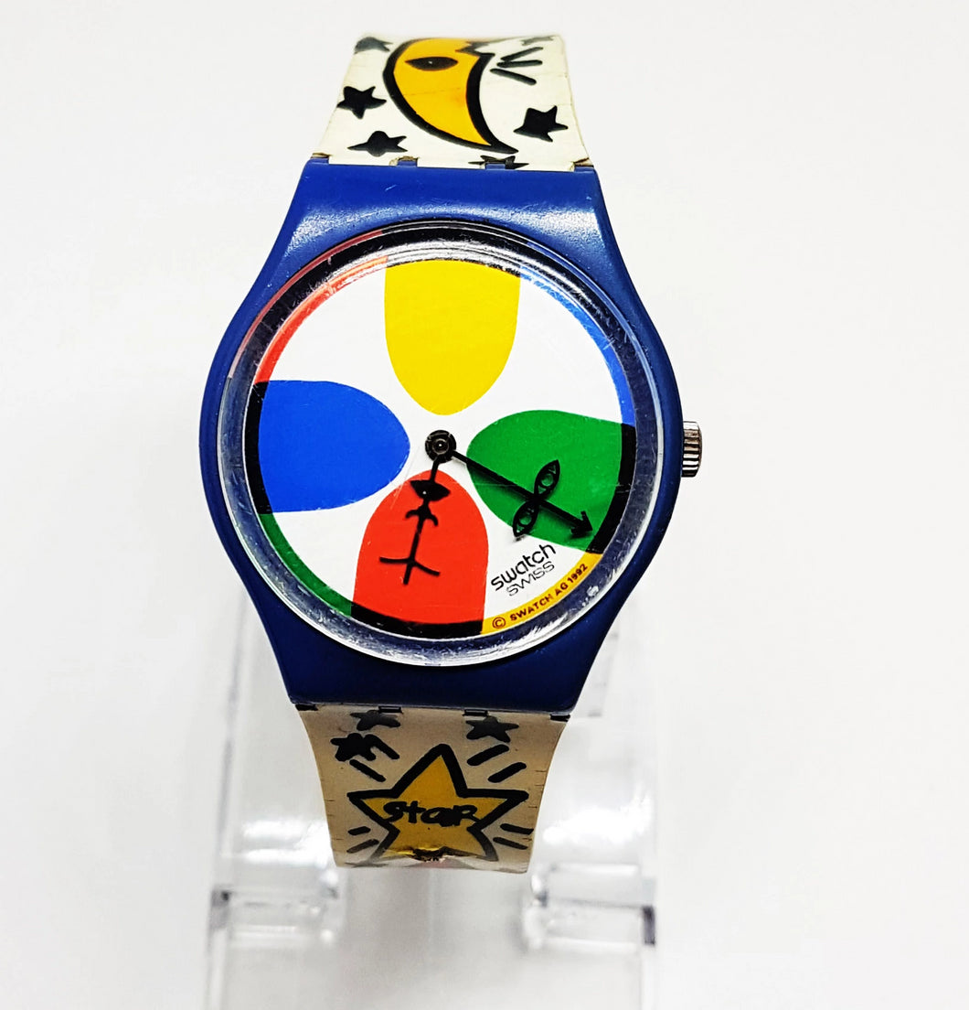 Moon and Sun Colorful 1992 Vintage Swatch Watch, Lucky Charm Wristwatch - Vintage Radar