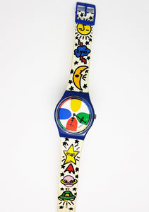 1992 SPACE PEOPLE GN134 Vintage Swatch Watch | Colorful Swatch Watches - Vintage Radar