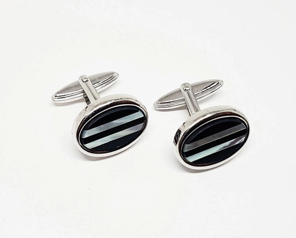Minimalist Silver-tone Vintage Set of Cufflinks | Wedding Collection - Vintage Radar