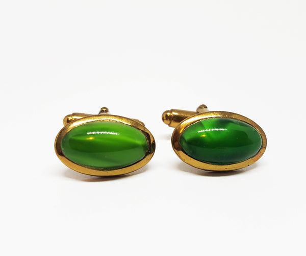 Gold-tone Vintage Set of Cufflinks with Green Stone | Wedding Collection - Vintage Radar