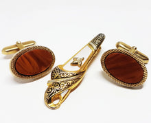Load image into Gallery viewer, Victorian Vintage Set of Cufflinks and Tie Clip | Wedding Collection - Vintage Radar