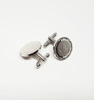 Luxurious Vintage Set of Silver-tone Cufflinks | Wedding Collection - Vintage Radar