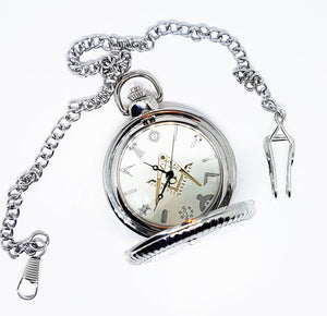 Freemason Silver-tone Vintage Pocket Watch | Can Be Engraved - Vintage Radar
