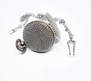 Textured Silver-tone Vintage Pocket Watch | Can Be Engraved - Vintage Radar