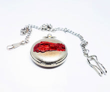 Load image into Gallery viewer, Red Truck Silver Pocket Watch | Can Be Engraved - Vintage Radar