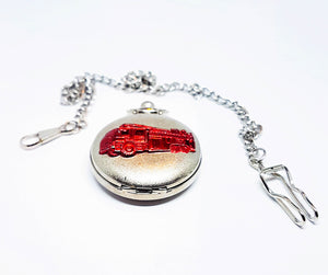 Red Truck Silver Pocket Watch | Can Be Engraved - Vintage Radar