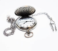 Turquoise and Silver Pocket Watch | Can Be Engraved - Vintage Radar