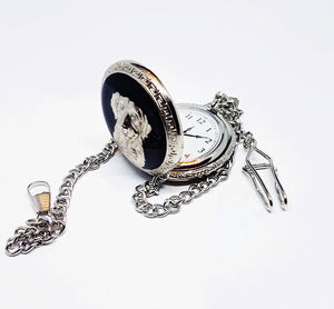 Dog Silver Pocket Watch | Can Be Engraved - Vintage Radar