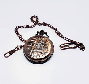 Rose Gold Ship Vintage Pocket Watch | Can Be Engraved - Vintage Radar