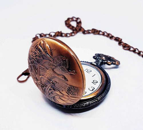 Bronze Hunter Vintage Pocket Watch | Swans Engraved Pocket Watch - Vintage Radar