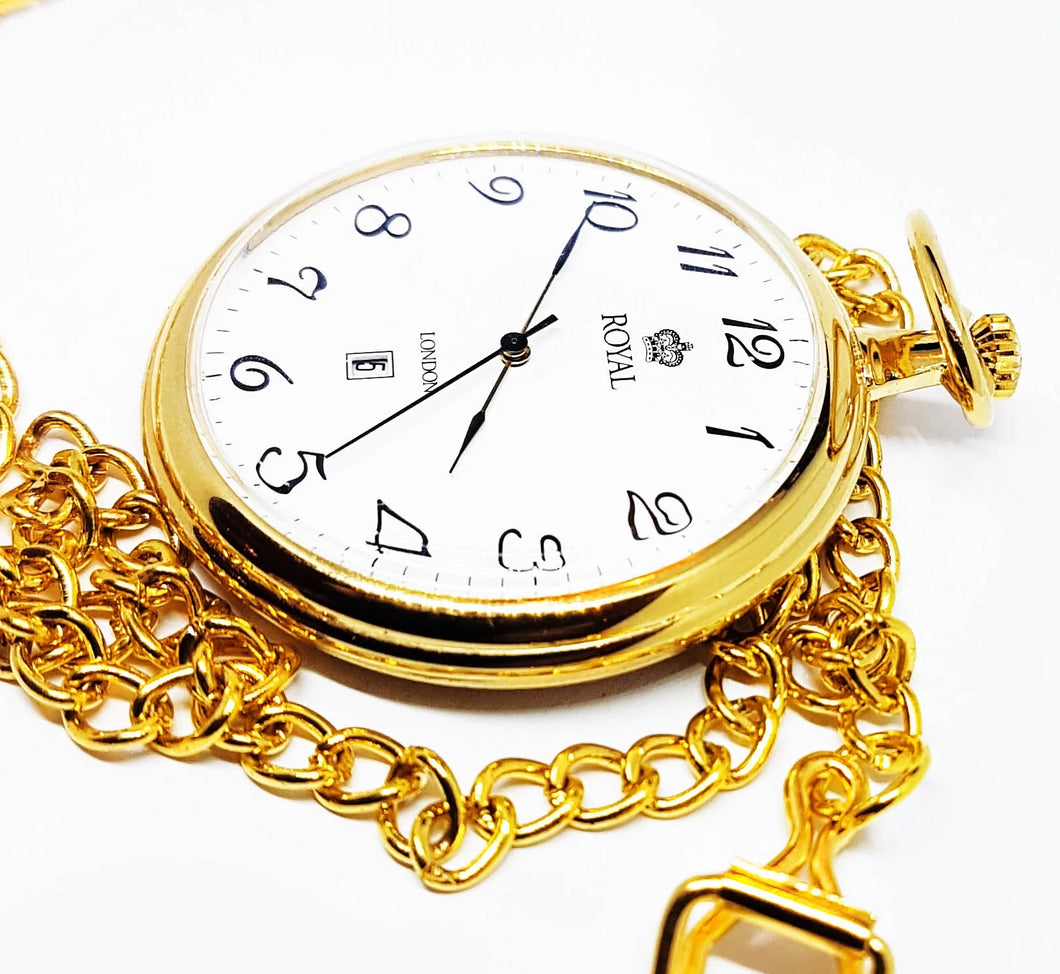 Gold-tone Pocket Watch Royal London | Vintage Pocket Watch - Vintage Radar