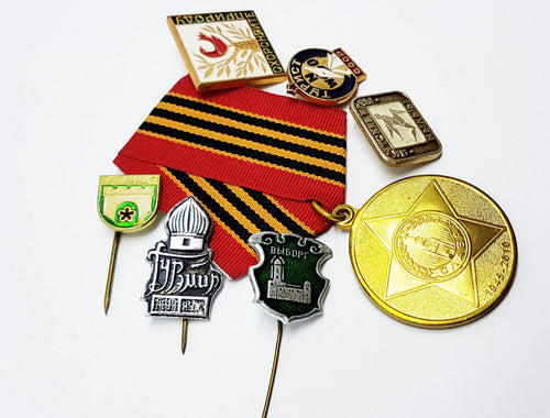 Set of Soviet Vintage Enamel Pins and Vintage Medal | Set 1 - Vintage Radar