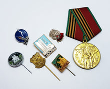 Load image into Gallery viewer, Set of Soviet Vintage Enamel Pins and Vintage Medal | Set 2 - Vintage Radar