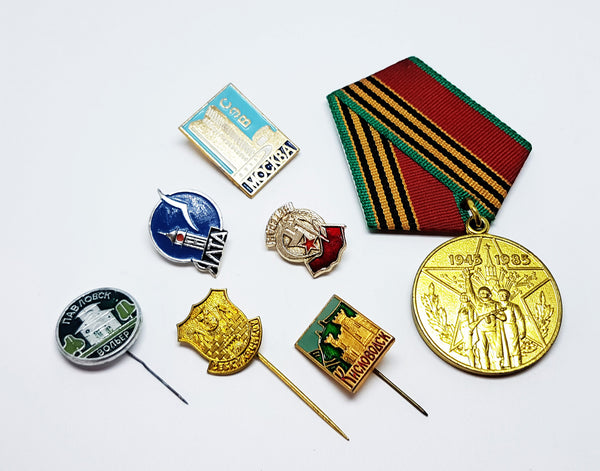 Set of Soviet Vintage Enamel Pins and Vintage Medal | Set 2 - Vintage Radar