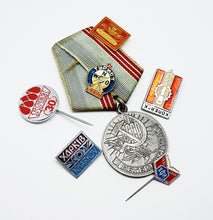 Load image into Gallery viewer, Set of Soviet Vintage Enamel Pins and Vintage Medal | Set 3 - Vintage Radar