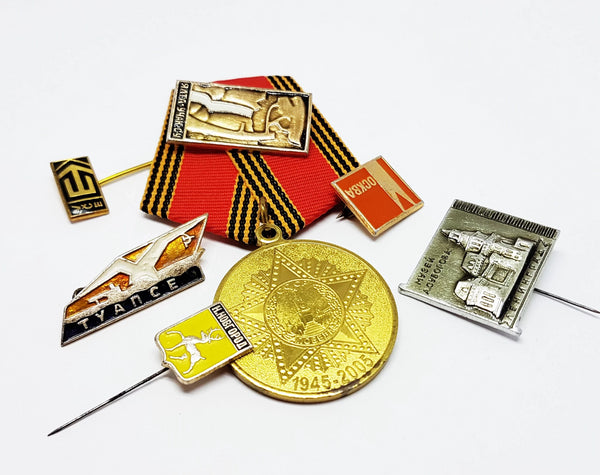Set of Soviet Vintage Enamel Pins and Vintage Medal | Set 4 - Vintage Radar