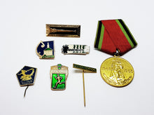 Load image into Gallery viewer, Set of Soviet Vintage Enamel Pins and Vintage Medal | Set 5 - Vintage Radar