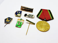 Set of Soviet Vintage Enamel Pins and Vintage Medal | Set 5 - Vintage Radar