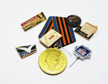 Load image into Gallery viewer, Set of Soviet Vintage Enamel Pins and Vintage Medal | Set 6 - Vintage Radar