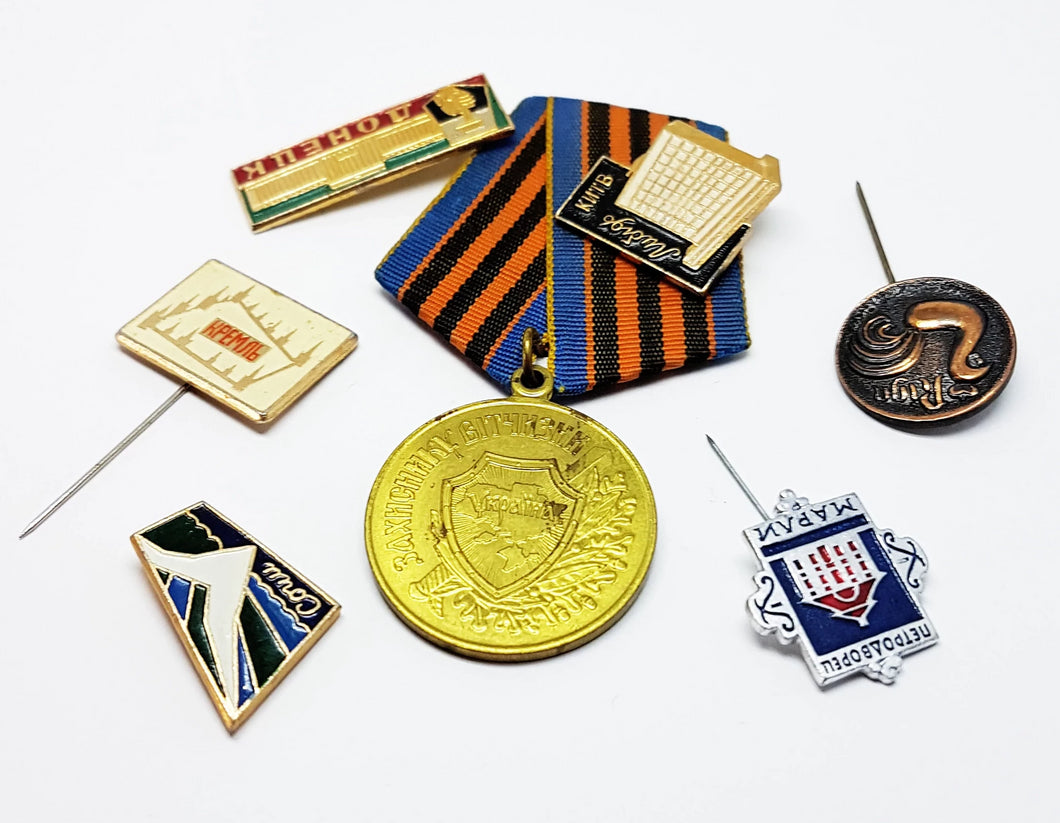 Set of Soviet Vintage Enamel Pins and Vintage Medal | Set 6 - Vintage Radar