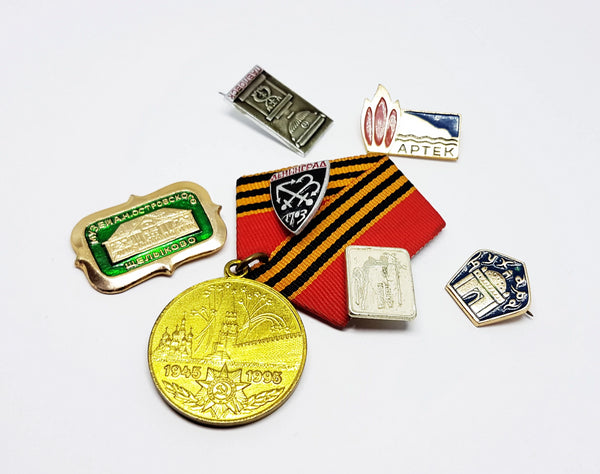Set of Soviet Vintage Enamel Pins and Vintage Medal | Set 7 - Vintage Radar
