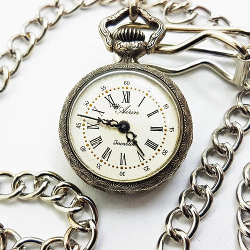Airin Incabloc Vintage Silver Pocket Watch - Vintage Radar