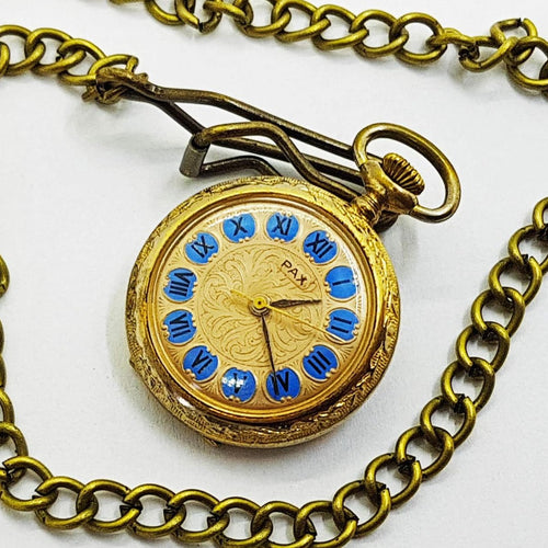 Pax Gold-tone Vintage Pocket Watch - Vintage Radar