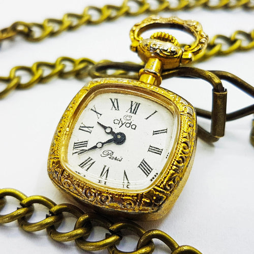 Tiny French Pocket Watch | Clyda Paris Pocket Watch or Medalion - Vintage Radar
