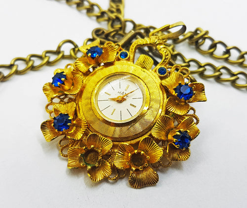 Maty Gold Floral Pocket Watch | Medalion Watch - Vintage Radar