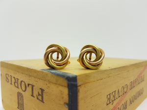 Yellow and Rose Gold Cufflinks, Intertwined Circles - Vintage Radar