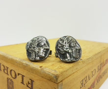 Load image into Gallery viewer, Ancient Style Inspired Silver-Tone Vintage Cufflinks - Vintage Radar