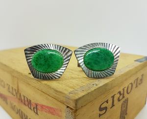 Set of Emerald Green Cufflinks and Tie Clip - Vintage Radar