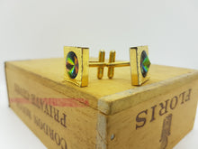 Load image into Gallery viewer, Gold Vintage Cufflinks | Emerald Green Stone Cufflinks | Wedding Wear - Vintage Radar