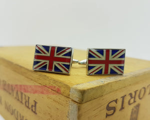Great Britain Flag Silver Cufflinks | Wedding Collection - Vintage Radar