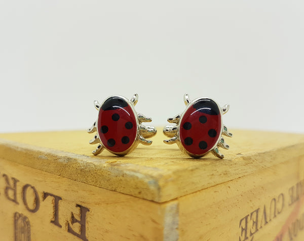 Ladybug Silver Vintage Cufflinks | Wedding Wear - Vintage Radar