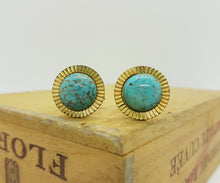 Load image into Gallery viewer, Gold-tone Vintage Cufflinks with Blue Stones - Vintage Radar
