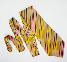 Load image into Gallery viewer, Juwel Yellow Striped Vintage Tie | Wedding Collection - Vintage Radar