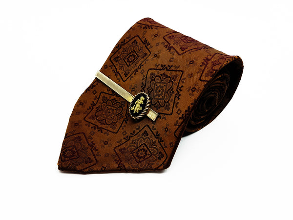 Victorian Brown Vintage Tie & Tie Clip | Wedding Collection - Vintage Radar