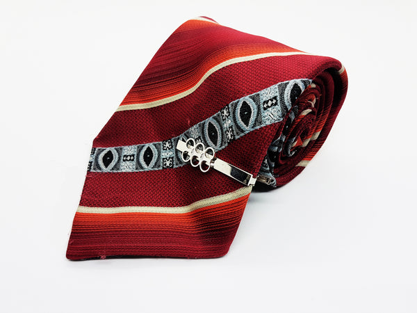Juwel Textured Red Vintage Tie & Tie Clip | Wedding Collection - Vintage Radar