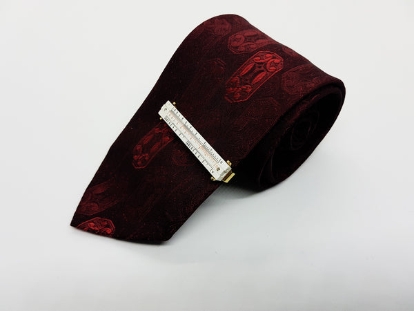 Burgundy Vintage Tie & Unique Thermometer Tie Clip | Wedding Collection - Vintage Radar